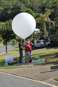 "Sealing balloon throat prior to ""dummy"" launch."